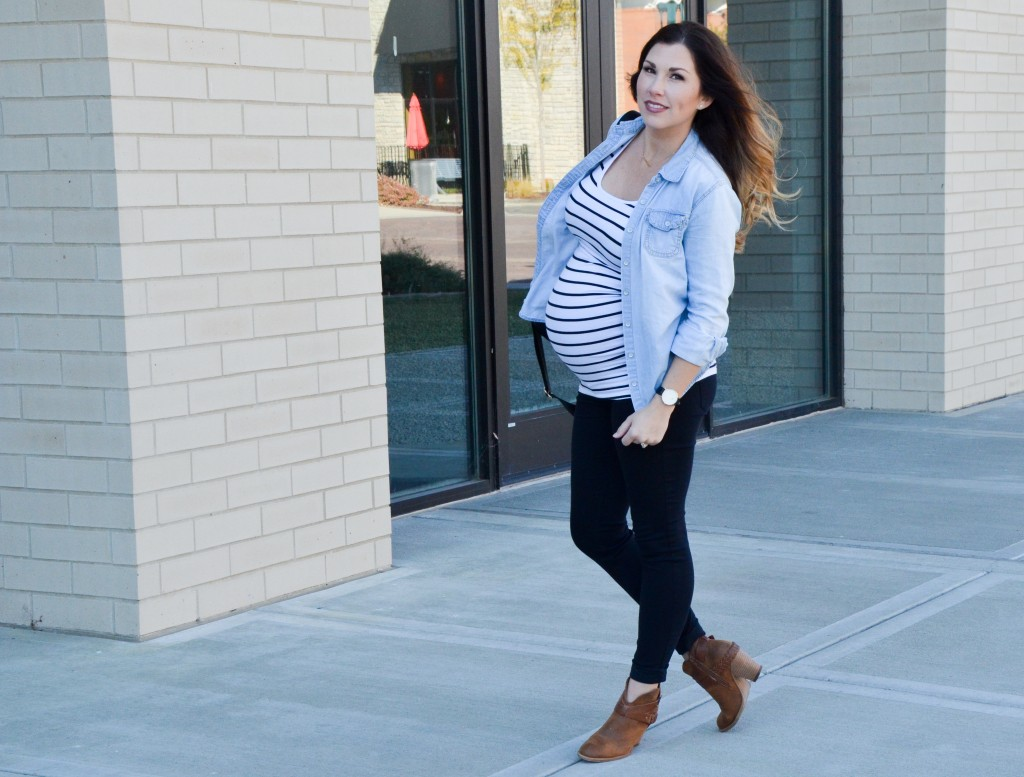 Maternity Style | Stripes + Chambray