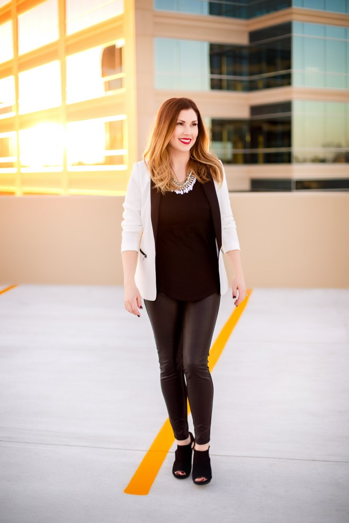 White Blazer + Faux Leather Pants | Southern Made Blog