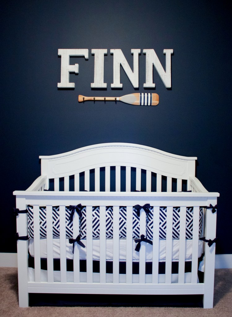 Nautical Nursery Reveal | Southern Made Blog | @baby_relax crib & oar available at @Target | Wood letters via @hobbylobby | Baby bedding via @carouseldesigns