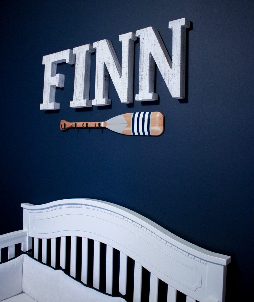 Nautical Nursery Reveal | Southern Made Blog | @baby_relax crib & oar available at @Target |Letters via @hobbylobby