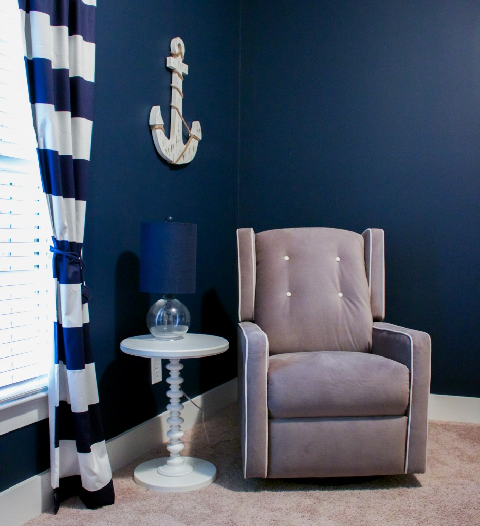 Nautical Nursery Reveal | Southern Made Blog | Glider via @Walmart | Curtains via @carouseldesigns | Anchor & lamp via @hobbylobby