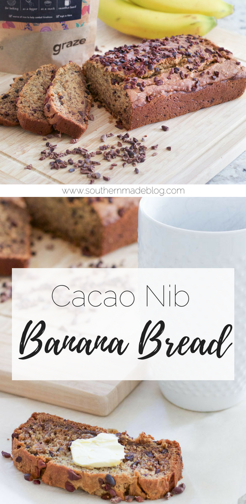 Cacao Nib Banana Bread | Southern Made Blog...This delicious banana bread is so easy to make and has quickly become a staple in our house. It's great for breakfast or a quick snack, and my kids love it!