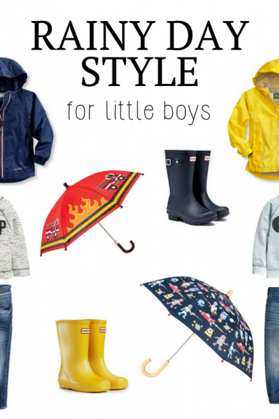 Rainy Day Style for Little Boys | Southern Made Blog |The perfect little outfits for jumping in puddles on a rainy day! LL Bean rain jackets, sweatshirts, jeans, fun umbrellas, and hunter rain boots.