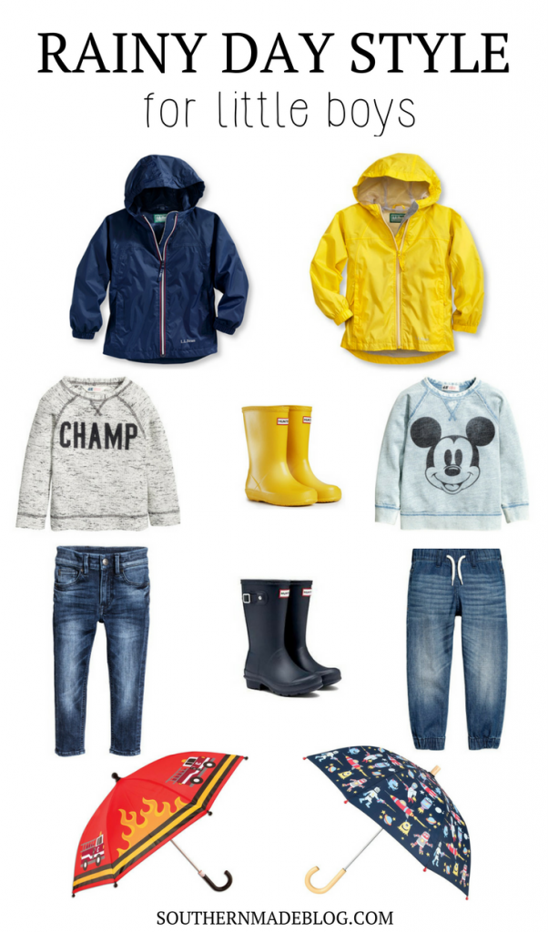 Rainy Day Style for Little Boys | Southern Made Blog |The perfect little outfits for jumping in puddles on a rainy day! LL Bean rain jackets, sweatshirts, jeans, fun umbrellas, and hunter rain boots for the win!
