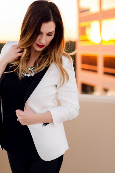 White Blazer + Faux Leather Pants